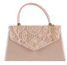 Manija superior Bolso de Embrague Bolso de Boda de encaje bordado de oro rosa de Noche para Mujer