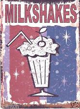 MILKSHAKES SMALL METAL SIGN RETRO VINTAGE STYLE cafe,bistro,coffee shop,tea room