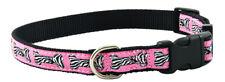 Pink Zebra Bone Jacquard Ribbon Dog Collar Closeout