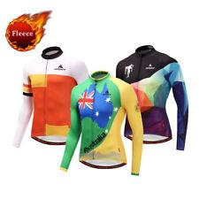 Men's Fleece Cycling Jersey Long Sleeve Winter Thermal Bike Jersey Reflective