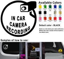 In Car Camera Recording Vinyl Decal Stickers Car Window Video Taping Warning Art