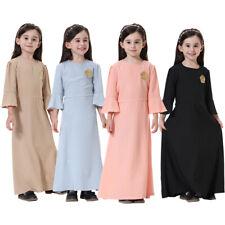 Kids Girls Islamic Muslim Full Long Dress Abaya Kaftan Raglan Sleeves Maxi Dress