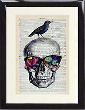 DIZIONARIO ART PRINT Sugar Skull Occhiali Farfalla Uccellino Vintage Cornice