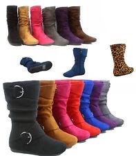 Girl's Kid's Cute Zipper Flat Heel Mid Calf Slouchy Boot Shoes Size 9 - 4 New