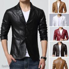 spring Men's Button Blazer Coat Soft Leather slim Fit Suit jacket coat outwear
