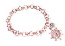 1PCS Fashion Rose Gold Color Rhinestone Charm Chain Bracelet