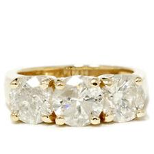 3ct Diamond Three Stone Wedding Anniversary Ring 14k Yellow Gold