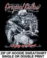 WILD ONE ORIGINAL OUTLAW BIKER BRANDO MOTORCYCLE SKULL ZIP HOODIE SWEATSHIRT