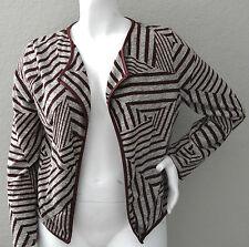Zenobia Stretch Sweater Knit Open Blazer Jacket Burgundy Plus 1XL 2XL 3XL - New!