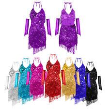 Women Backless Latin Tango Ballroom Salsa Dance Dress Tassel Dance Costume Dress