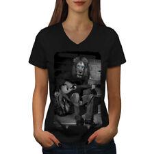 Lion Guitar Player Women V-Neck T-shirt NEW | Wellcoda