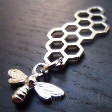 Bee Honeycomb Charms - Wholesale Silver Tone Pendants C1394 - 5, 10, 20PCs
