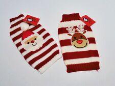 Weihnachten Hunde- Welpen Pullover - Motiv Rentier / Weihnachtsmann - Größe XS S