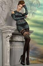 Black stunning Ballerina 221 Hold Up Nero sexy hosiery s/m & l/xl Gold sparkle