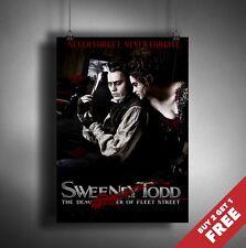 Sweeney Todd The Demon Barber o Fleet Street 2007 Movie Poster A3 A4 películas impresión