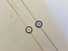 925 Sterling Silver / Gold Cubic Zirconia CZ Evil Eye Greek Mati Nazar Bracelet