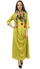 Bimba Designer Women's Cowl Maxi Lime Green Dress With Printed Tassel Scarf