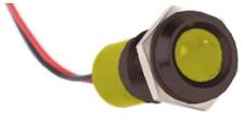 Indicador LED amarillo IP67 Prominent Panel Montaje 14mm 110Vac 30mcd Cubierta Negra