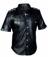Uniforme de policía de Cuero Negro Genuino CALIENTE para Hombre Camisa bluf Gay Ovejas Cordero
