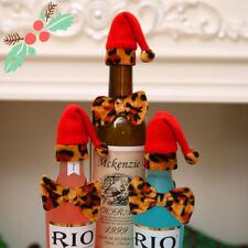 UK STOCK Leopard CAPPELLO di NATALE per BOTTIGLIA VINO Papillon Festa di Natale Decorazione Casa