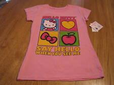 Girls Hello Kitty t shirt Pink Hello M medium 10/12 NWT ^^