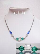 Collier en cristal bleu et vert, collier en cristal rouge et noir, chaine acier