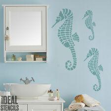 Caballito Mar Estarcido Pintura paredes Tela Muebles Decoración Hogar