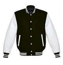 Varsity  Black Wool Letterman Jacket Real White Leather Sleeves