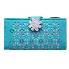 Women Fashion Long Hasp Wallet Cute Flower Purse Card Holder for Junior & Girl