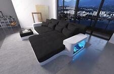 Bigsofa Megasofa Eck Couch MILANO LED Leder Stoff Materialmix Ecksofa Designsofa