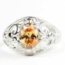 • SR111, 1.5 ct Champagne CZ, Sterling Silver Ladies Filigree Ring, Handmade