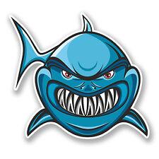 2 X 10 Cm De Angry Shark pegatina de vinilo calcomanía Laptop Auto Moto Casco mandíbulas peces # 5866
