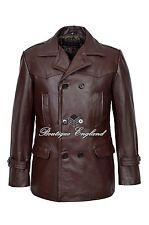 Manteau allemand pois marron Dr Who men's classic réfrigérées militaire veste en cuir masquer