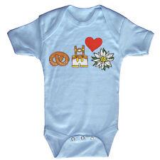 BABY body bodys 0-24 mois Oktoberfest Cœur Brezel pantalons en cuir 08348 Bleu