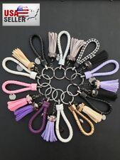 KeyChain Braided Leather Rope Tassel Rhinestone Bling Key Holder Ring - UNIQUE