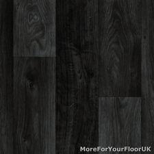 Black Dark Grey Wood Plank Vinyl Flooring, Slip Resistant Lino 4m, Cushion Floor