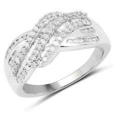 0.64 Ct Genuine Diamond 925 Sterling Silver Pave Setting Wedding Bridal Ring