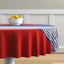 Round Tablecloth Fashion Fashionista Red White Blue Stripes Cotton Sateen