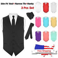 Men's SLIM FIT Dress Vest Narrow NeckTie Hanky Set Formal Suit Tux Waistcoat Tie