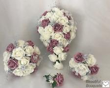 Wedding Bouquets dusky pink Rose flowers Bride  Bridesmaid buttonholes posy wand