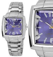 Edelstahl Herren Armbanduhr Blau/Lila Silber Edelstahl-Gliederarmband MONOPOL