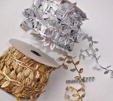 """Ruban galon feuille Doré/Argenté couture décoration mariage noel """"4cm au mètre"""""""