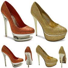 Womens Ladies Stiletto Heel Double Platform Wedding Bridal Court Shoes Sizes 3-8