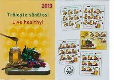Rumänien 2013 Gesunde Ernährung (II) Mi.6711-14,Zf.,KB-Satz,Block 561,FDC