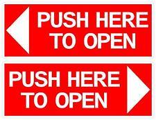 120x55mm PUSH HERE TO OPEN DOOR STICKER MINIBUS TAXI BUS COACH X2
