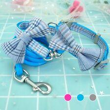 Plaid Pet Dog Collar Leash set Cute Bowknot Pink Training Rope Small Medium Dog