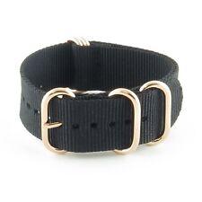 StrapsCo Black 5 Ring Nylon Watch Strap Band w/ Rose Gold Rings