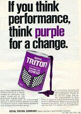 1972 Print Ad of Royal Triton High Performance Purple Racing Oil