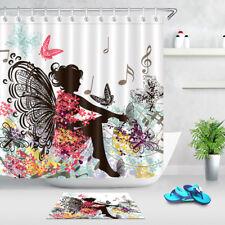Flower Fairy Music Butterfly Waterproof Fabric Bathroom Shower Curtain Hooks Set