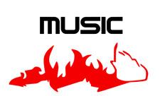 Musik Aufkleber  Music Schriftzug inkl. Flamme Aufkleber  223
